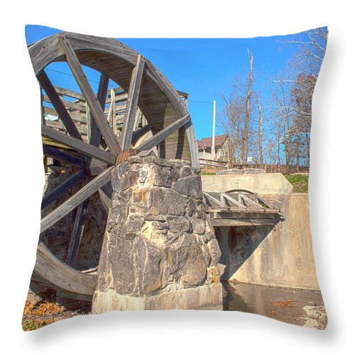 Mansfield Mill Photographs Throw Pillow featuring the photograph Mansfield Mill Water Wheel by Thomas Sellberg