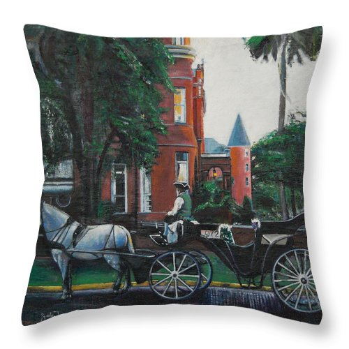 Throw Pillow featuring the painting Mansion On Forsythe Savannah Georgia by Jude Darrien