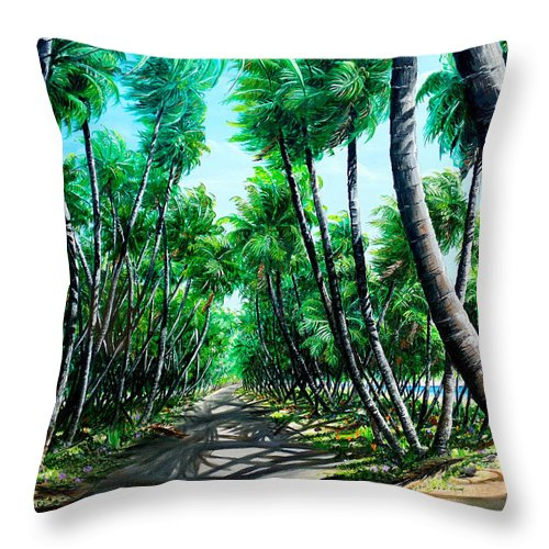 Coconut Trees Throw Pillow featuring the painting Manzanilla Coconut Estate by Karin Dawn Kelshall- Best