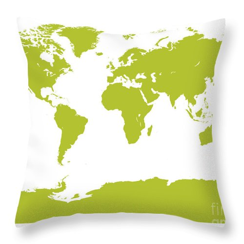 World Throw Pillow featuring the digital art Map In Chartreuse Green by Jackie Farnsworth