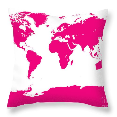 World Throw Pillow featuring the digital art Map In Pink by Jackie Farnsworth