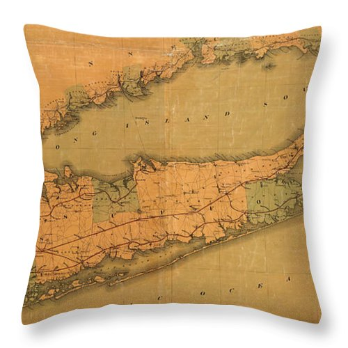 Long Island Throw Pillow featuring the photograph Map Of Long Island 1888 by Andrew Fare