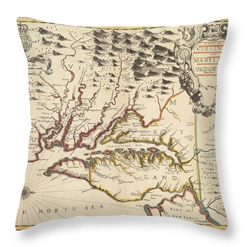 Maryland Throw Pillow featuring the photograph Map Of Maryland 1676 by Andrew Fare