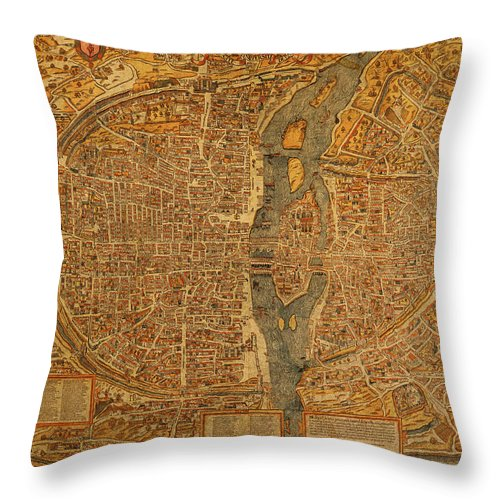 Map Of Paris Throw Pillow featuring the mixed media Map Of Paris France Circa 1550 On Worn Canvas by Design Turnpike
