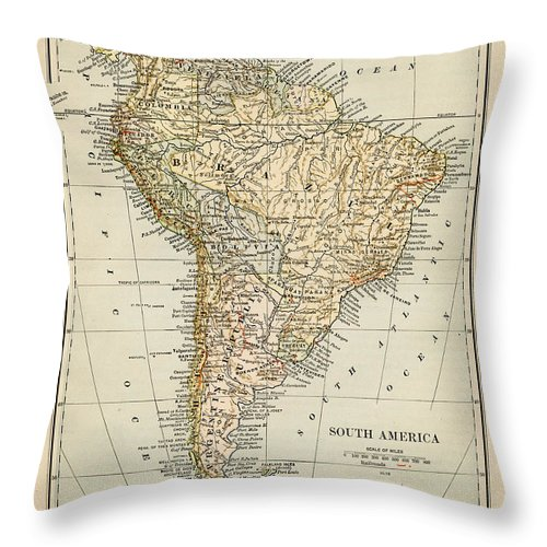 Burnt Throw Pillow featuring the photograph Map Of South America 1875 by Thepalmer