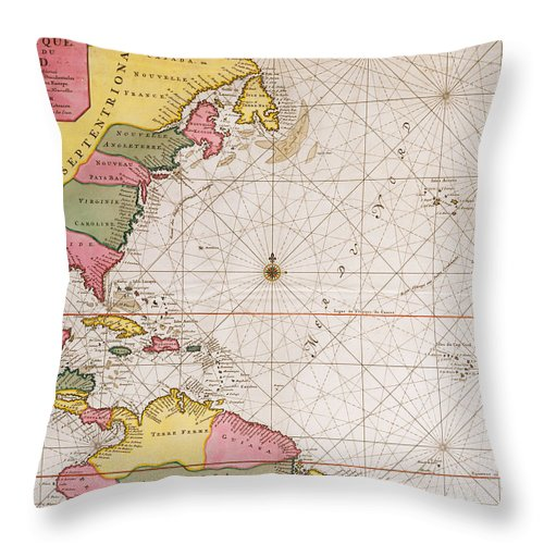 Map Of The Atlantic Ocean Showing The East Coast Of North America The  Caribbean And Central America Throw Pillow