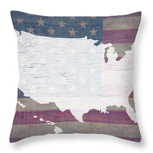 Map Of United States Throw Pillow featuring the mixed media Map Of United States In White Old Paint On American Flag Barn Wood by Design Turnpike