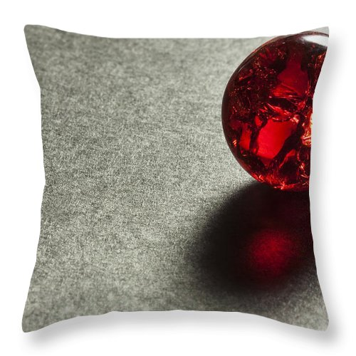 Glass Throw Pillow featuring the photograph Marble Red Crackle 1 by John Brueske