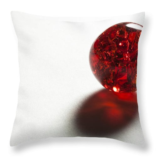 Glass Throw Pillow featuring the photograph Marble Red Crackle 2 by John Brueske