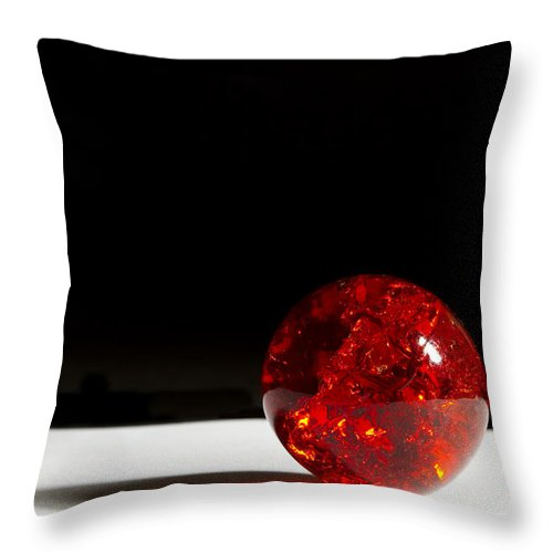 Glass Throw Pillow featuring the photograph Marble Red Crackle 4 B by John Brueske
