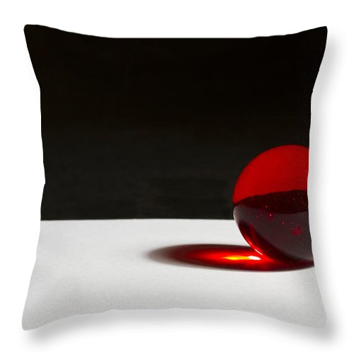 Glass Throw Pillow featuring the photograph Marble Red Laser 1 A by John Brueske