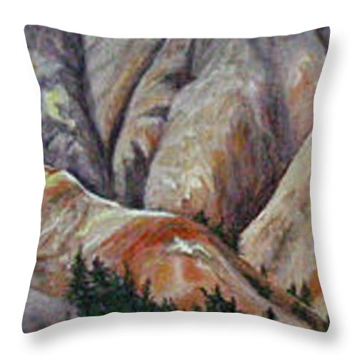 Mountains Throw Pillow featuring the painting Marble Ridge by Elaine Booth-Kallweit