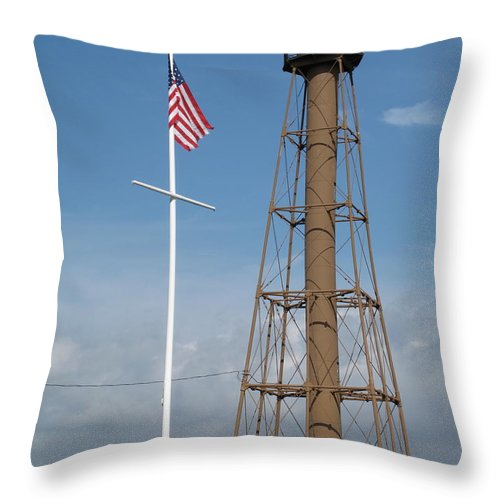 Lighthouse Throw Pillow featuring the photograph Marblehead Light Tower by Barbara McDevitt