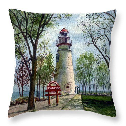 Marblehead Lighthouse Painting Throw Pillow featuring the painting Marblehead Lighthouse by Terri Meyer
