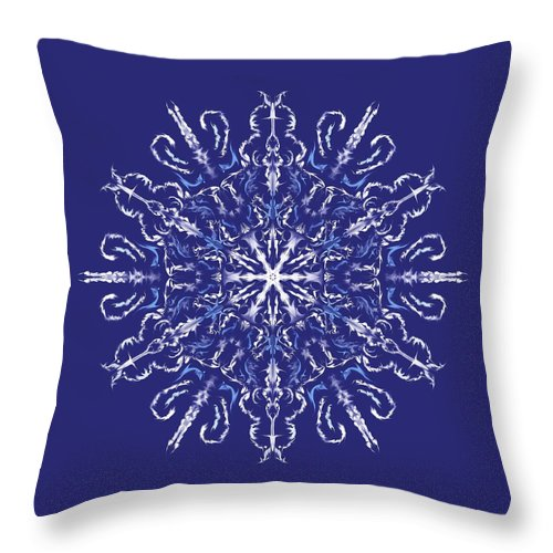 Kaleidoscope Throw Pillow featuring the digital art Marbleized Snowflake Kaleidoscope by MM Anderson