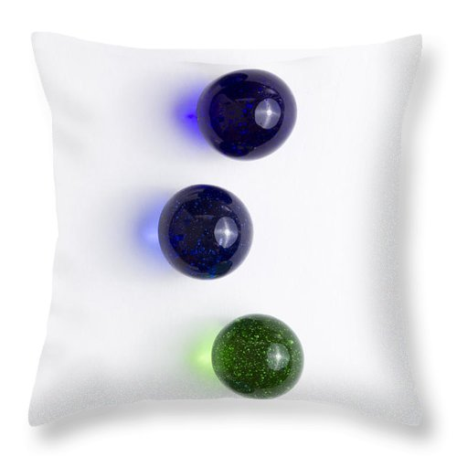 Glass Throw Pillow featuring the photograph Marbles Blue Green Line 1 by John Brueske