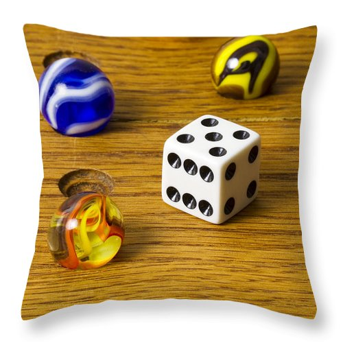 Glass Throw Pillow featuring the photograph Marbles Board Game 1 C by John Brueske