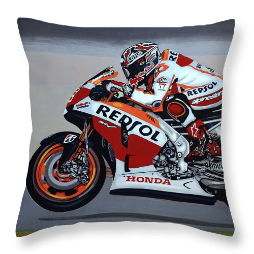 Marc Marquez Throw Pillow featuring the painting Marc Marquez by Paul Meijering