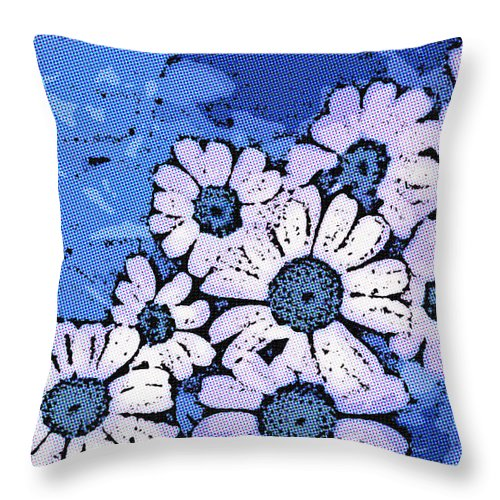 Flower Throw Pillow featuring the photograph March Of The Daisies by Susan Eileen Evans