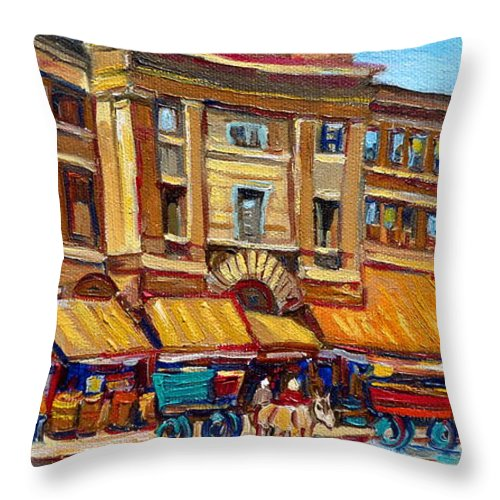 Montreal Art Throw Pillow featuring the painting Marche Bonsecours Old Montreal by Carole Spandau