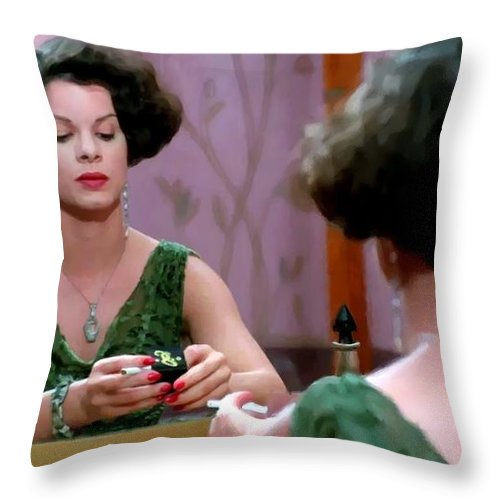Ethan Coen Movies Throw Pillow featuring the digital art Marcia Gay Harden as Verna Bernbaum in the film Miller s Crossing by Joel and Ethan Coen by Gabriel T Toro