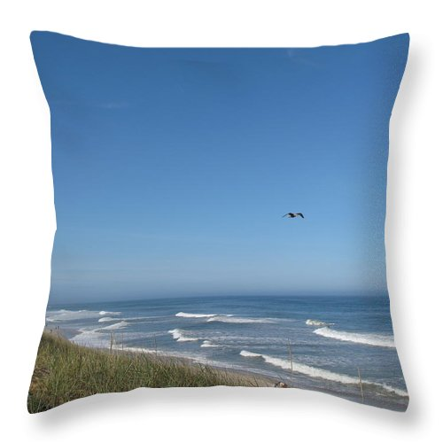 Seascape Throw Pillow featuring the photograph Marconi Beach Wellfleet Ma by Barbara McDevitt
