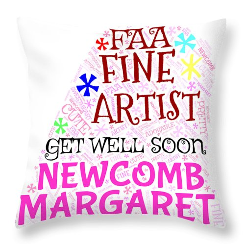 Margaret Throw Pillow featuring the painting Margaret Get Well Soon by Bruce Nutting