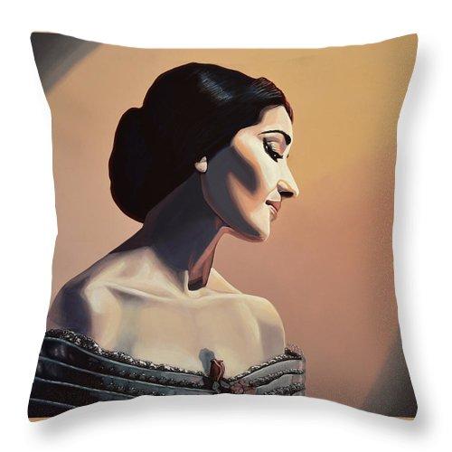 Maria Callas Throw Pillow featuring the painting Maria Callas Painting by Paul Meijering
