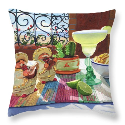 Cocktail Throw Pillow featuring the painting Mariachi Margarita by Steve Simon