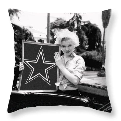 Marilyn Monroe Throw Pillow featuring the photograph Marilyn Cowboys by Paul Van Scott