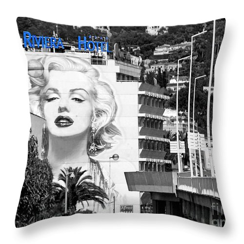 Marilyn Monroe Throw Pillow featuring the photograph Marilyn In Cannes by Jennie Breeze