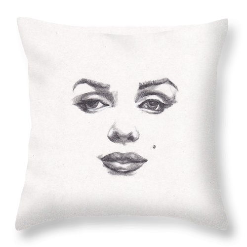 Marilyn Throw Pillow featuring the drawing Marilyn by Lee Ann Shepard