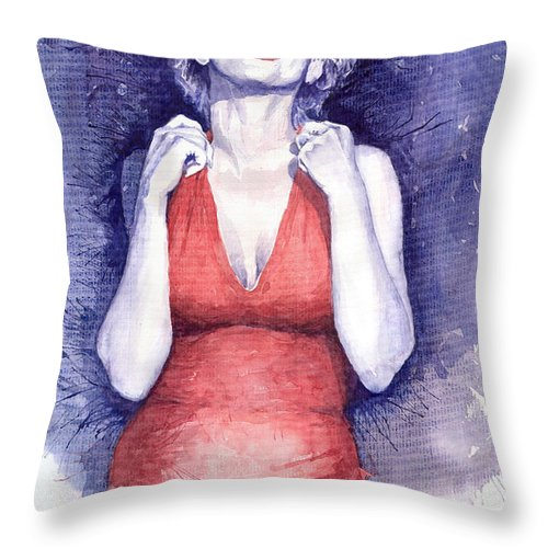 Watercolour Throw Pillow featuring the painting Marilyn Monroe by Yuriy Shevchuk