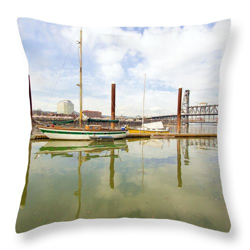Marina Throw Pillow featuring the photograph Marina Along Willamette River In Portland by Jit Lim