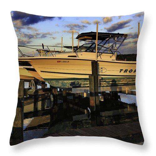 Boats Throw Pillow featuring the photograph Marina At Dawn by Fran Gallogly