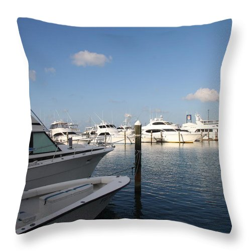 Harbor Throw Pillow featuring the photograph Marina Key West - Harbored Fun by Christiane Schulze Art And Photography