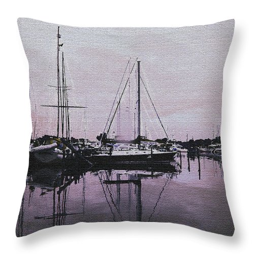 Yacht Throw Pillow featuring the photograph Marina Reflections by Laurie Perry