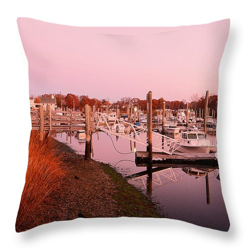 Warwick Throw Pillow featuring the photograph Marina Sunrise by Lourry Legarde