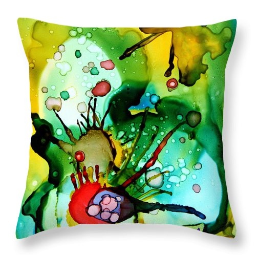 Marine Life Throw Pillow featuring the painting Marine Habitats by Jolanta Anna Karolska