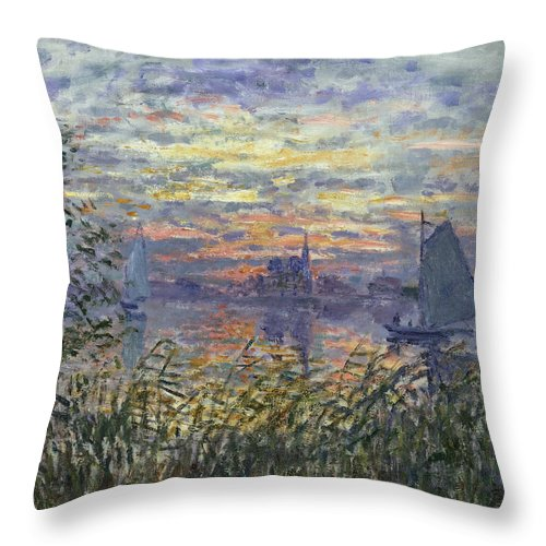 Claude Monet Throw Pillow featuring the painting Marine View With A Sunset by Claude Monet