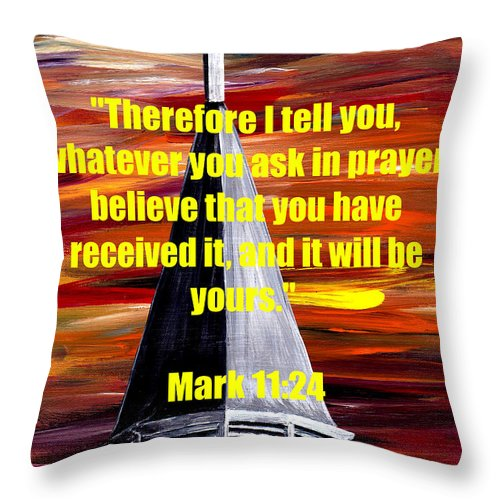 God Throw Pillow featuring the painting Mark 11 24 by Mark Moore