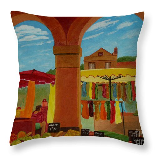 Landscape Throw Pillow featuring the painting Market Day by Anthony Dunphy