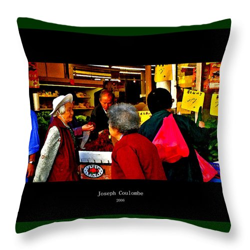 Chinatown Throw Pillow featuring the digital art Market Day In Chinatown by Joseph Coulombe