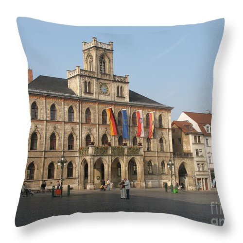Market Place Throw Pillow featuring the photograph Market Place Weimar - Unesco Heritage Site by Christiane Schulze Art And Photography