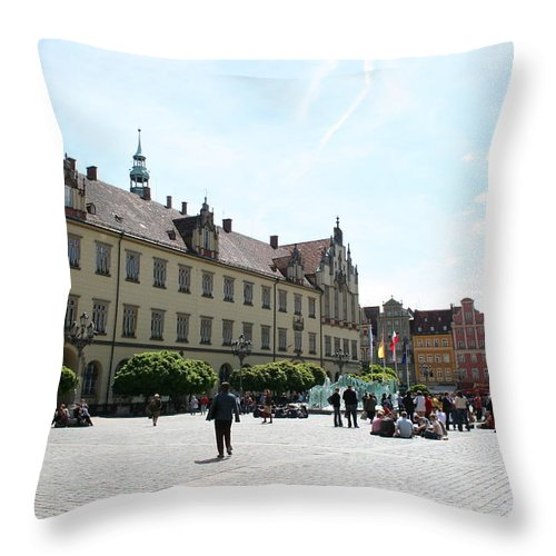 Market Place Throw Pillow featuring the photograph Market Place Wroclaw by Christiane Schulze Art And Photography