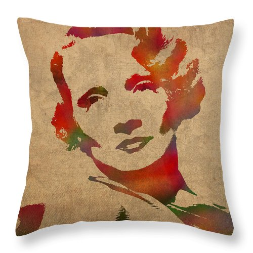 Marlene Dietrich Throw Pillow featuring the mixed media Marlene Dietrich Movie Star Watercolor Painting On Worn Canvas by Design Turnpike