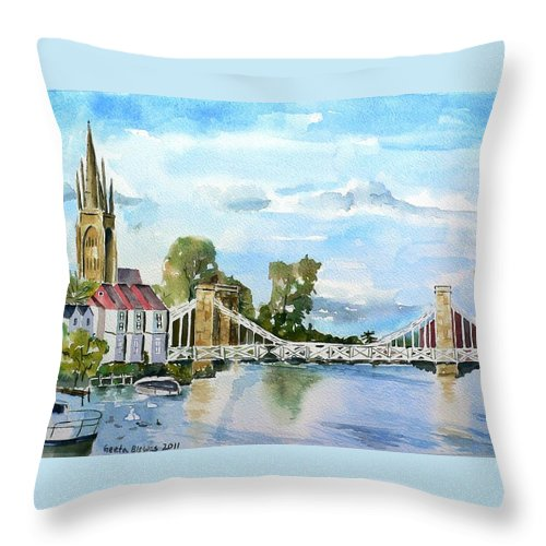 Marlow Throw Pillow featuring the painting Marlow On Thames 2 by Geeta Biswas