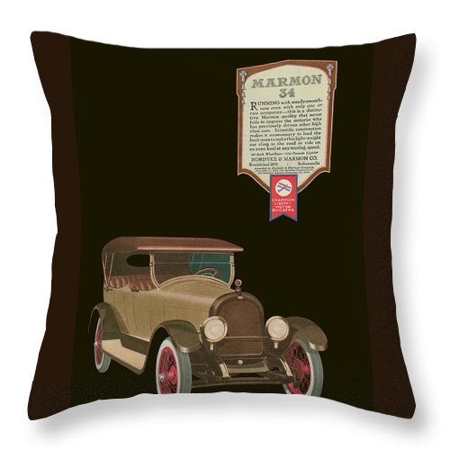 '20's Throw Pillow featuring the drawing Marmon 34 - Vintage Poster by World Art Prints And Designs