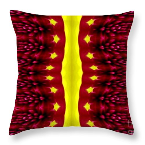 Chrysanthemums Throw Pillow featuring the photograph Maroon And Yellow Chrysanthemums 2 Polar Coordinates Effect by Rose Santuci-Sofranko