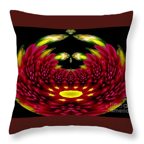 Chrysanthemums Throw Pillow featuring the photograph Maroon And Yellow Chrysanthemums Polar Coordinates Effect by Rose Santuci-Sofranko